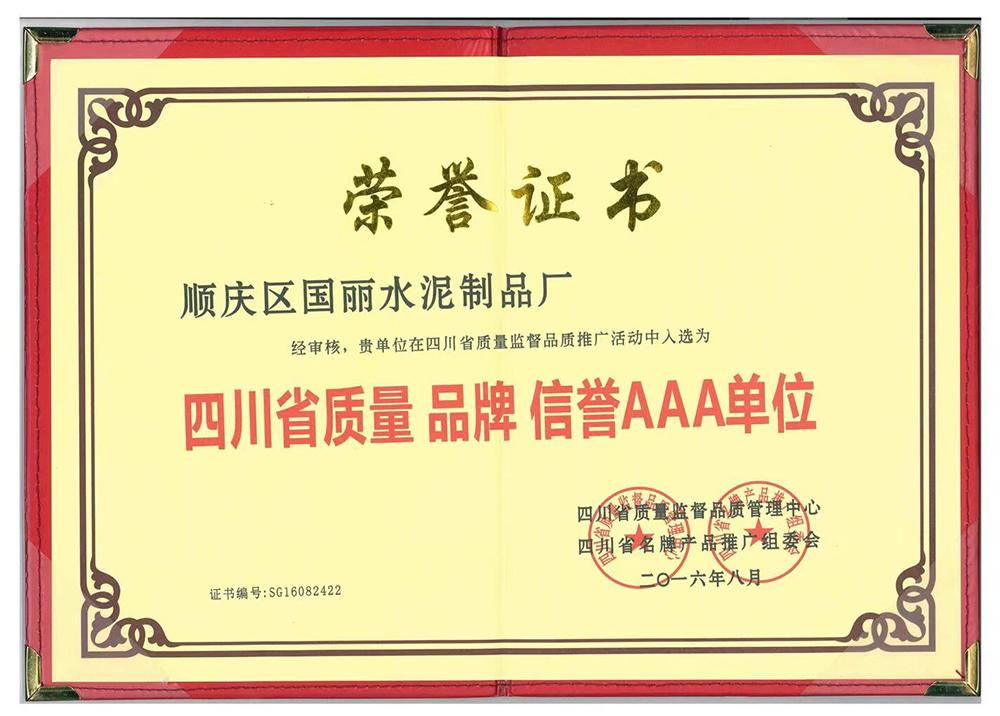 南充国丽市政设施有限公司旗下透水砖砖厂获得四川省质量品牌信誉